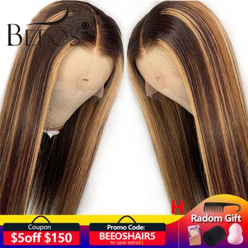 13*6 głębokie częściowo koronka przodu włosów ludzkich peruka prosto wyróżnij kolor włosów wstępnie oskubane linia włosów bielone węzłów brazylijski Remy włosy tanie i dobre opinie BEEOS Proste Koronki przodu peruk Długi Ludzki włos Ciemniejszy kolor tylko Swiss koronki 1 sztuka tylko Pół maszyny wykonane i pół ręcznie wiązanej