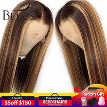 Beeos 13*4 Lace Front Human Hair Wig Straight Highlight Color Hair Pre Plucked Hair Line Bleached Knots Brazilian Remy Hair
