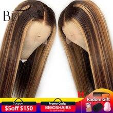 Perruque Lace Front Wig naturelle brésilienne Remy lisse Beeos, balayage, 13*4, naissance de cheveux, pre plucked, nœuds décolorés