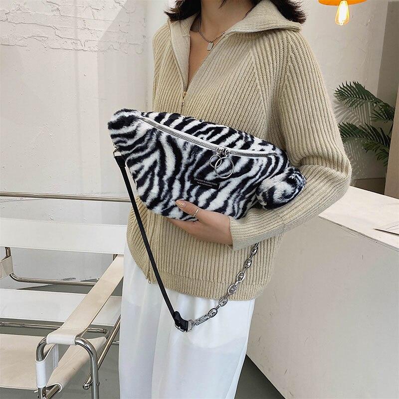 Cute Leopard Plush Chest Packs Waist Bag For Women 2020 Winter New Fashion Crossbody Bag Female Kawaii Zebra Fanny Pack Handbags