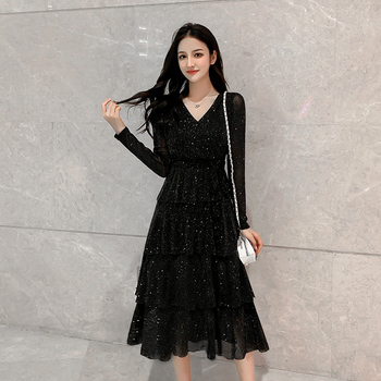 S-5XL Black Mesh Sequin Dress Women Elastic Waist Vintage Ruffle Cake Sexy Club Dresses Midi Long Sleeve Plus Size Robe Femme dana kay women s plus size scarf fit and flare midi dress