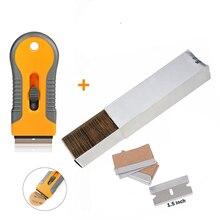 FOSHIO – grattoir de rasoir pour le nettoyage des vitres du four + 100 pièces, lame en acier au carbone, Film autocollant en vinyle, raclette de teinture de voiture