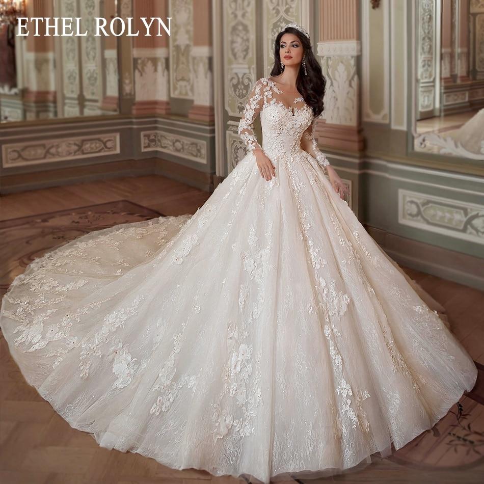 Кружевное бальное платье ETHEL ROLYN, свадебное платье с длинным рукавом, бисером и 3D аппликацией, платья принцессы для невесты, свадебное платье...