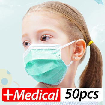Profession Child Kids Boy Girl Medical Mask 50Pcs/Pack Surgical 3-Ply PM2.5 N95 Nonwoven Disposable Elastic Breathable Face Mask