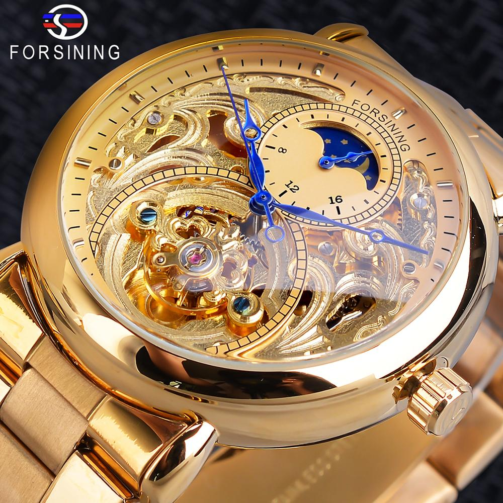 Forsining Automatic Mechanical Business Watch Mens Clock Golden Moon Phase Steel Strap Wrist Watches Top Brand Relogio Masculino
