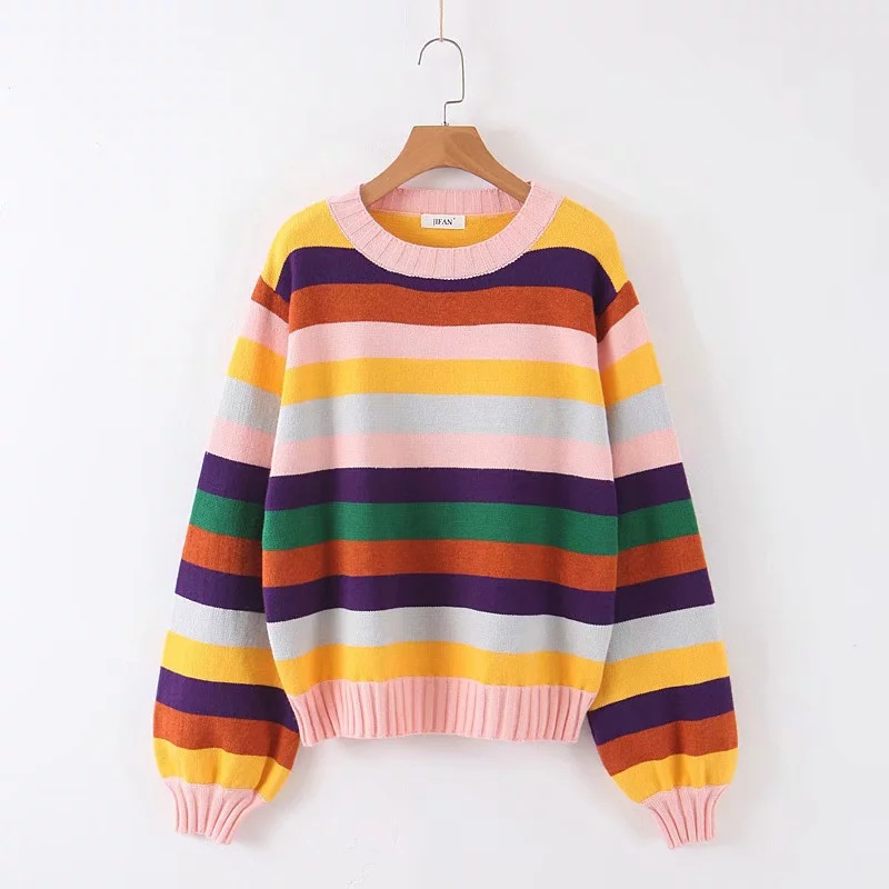Rainbow Stripes 2019 Autumn And Winter New Korean Women Sweater All-match Long Sleeved Shirt Slim Female Pullover O-Neck