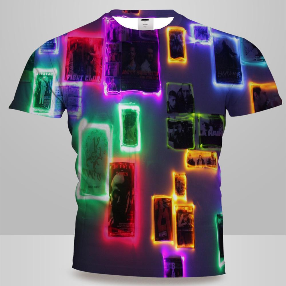 UNEY Psychedelic Photos T-Shirt Short Sleeve Light Tops Tees Rainbow Colour Tshirt Men/Woman Shirt Tee Boy Round Neck Tops
