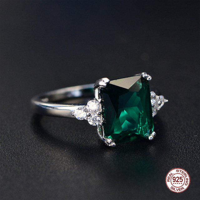 2019 New Fine Engagement Ruby Ring 925 Sterling Silver Rings Amethyst Gemstone Ring Silver Emerald Blue Sapphire Ring For Women 4