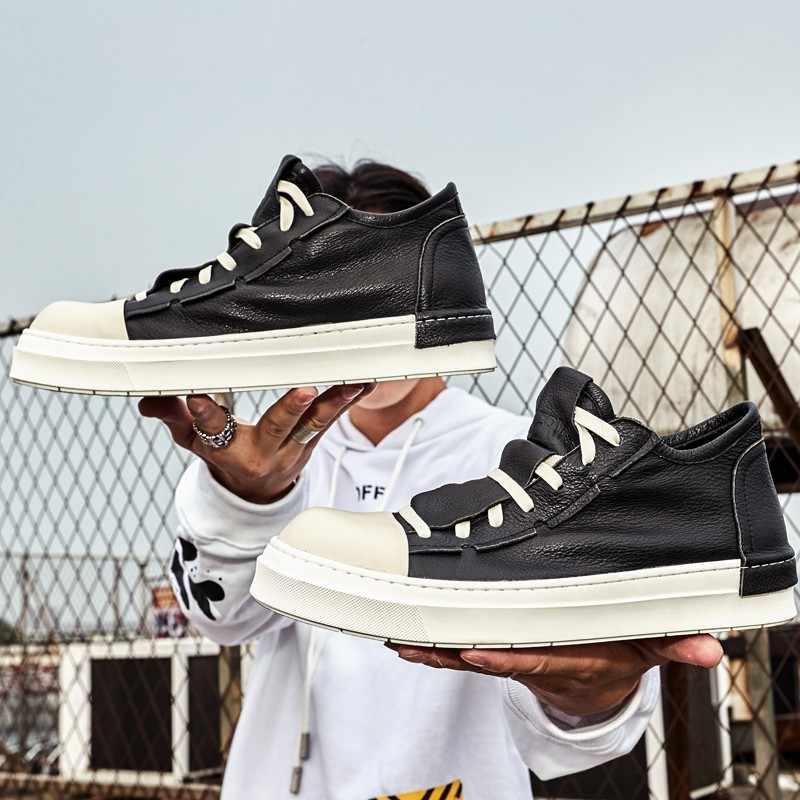 Koreański mody Unisex prawdziwej skóry przypadkowi rzemienni buty pomóc ubogim Round Toe zasznurowywają mężczyzna platformy Sneakers buty Streetwear