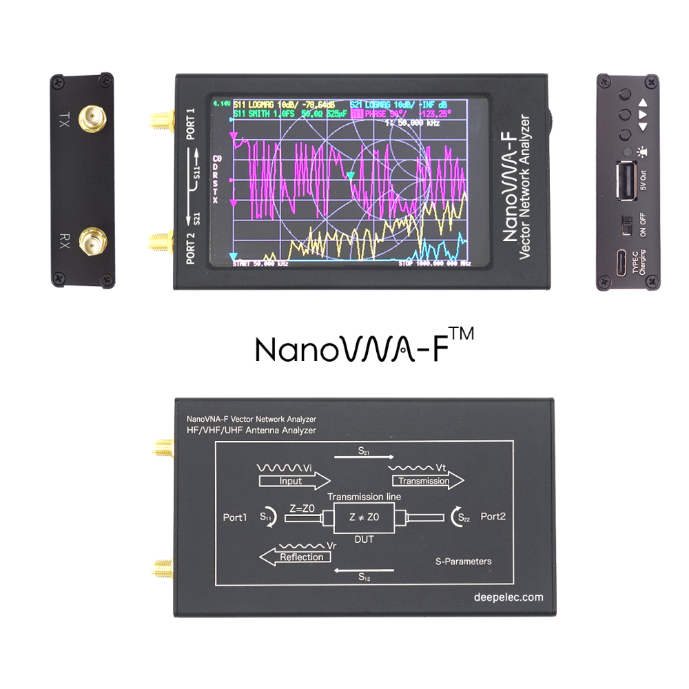 2020 Latest 4 3 inch Nanovna-F NANOVNA VHF UHF Antenna Analyzer 1 5GHz Hardware V3 1 Push Button Switch