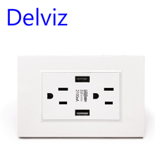 "Delviz ארה""ב סטנדרטי בארה""ב USB שקע, 2.1A כפולה USB מטען נמל LED מחוון, AC 110 ~ 250V, מתג panell,15A קיר מצגות Powerpoint תקע"