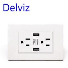 Standardowe amerykańskie gniazdo USB Delviz, podwójny Port ładowarki USB 2.1A, AC 110 ~ 250V, panel przełączników, wtyczka ścienna 15A