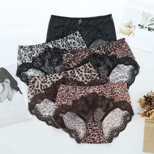Hot Sexy Leopard Sexy Seamless Panties Lace Transparent Underwear Women High Waist Crotch Cotton Briefs Sanitary Female Lingerie