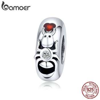 Bamoer Insert Series 925 Sterling Silver Small Ant Charm With Silicone Stopper For Original Snake Bracelet And Bangle SCC1482