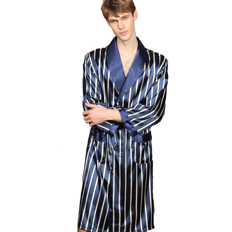 Plus Size 4XL 5XL Kimono Bath Gown Men Silk Satin Pajamas Pyjamas Robes Long Sleeve Striped Sleepwear Bathrobe