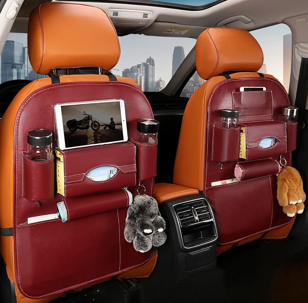 Bolsa de almacenamiento de asiento de coche/  multifuncional de cuero, bolsa de almacenamiento de coche plegable / Logropirata