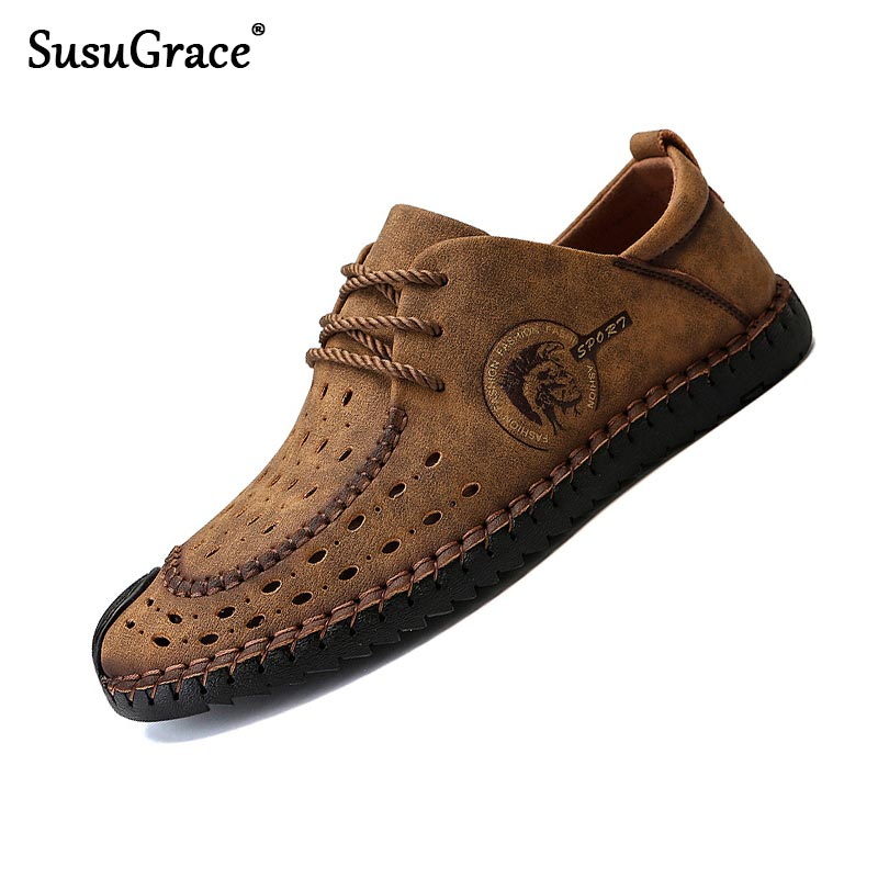 SusuGrace Spring Summer Men Casual Sneakers Plus Size Leather Shoes Fashion Flat Sneaker Breathable Lightweight Lace-up Outdoor