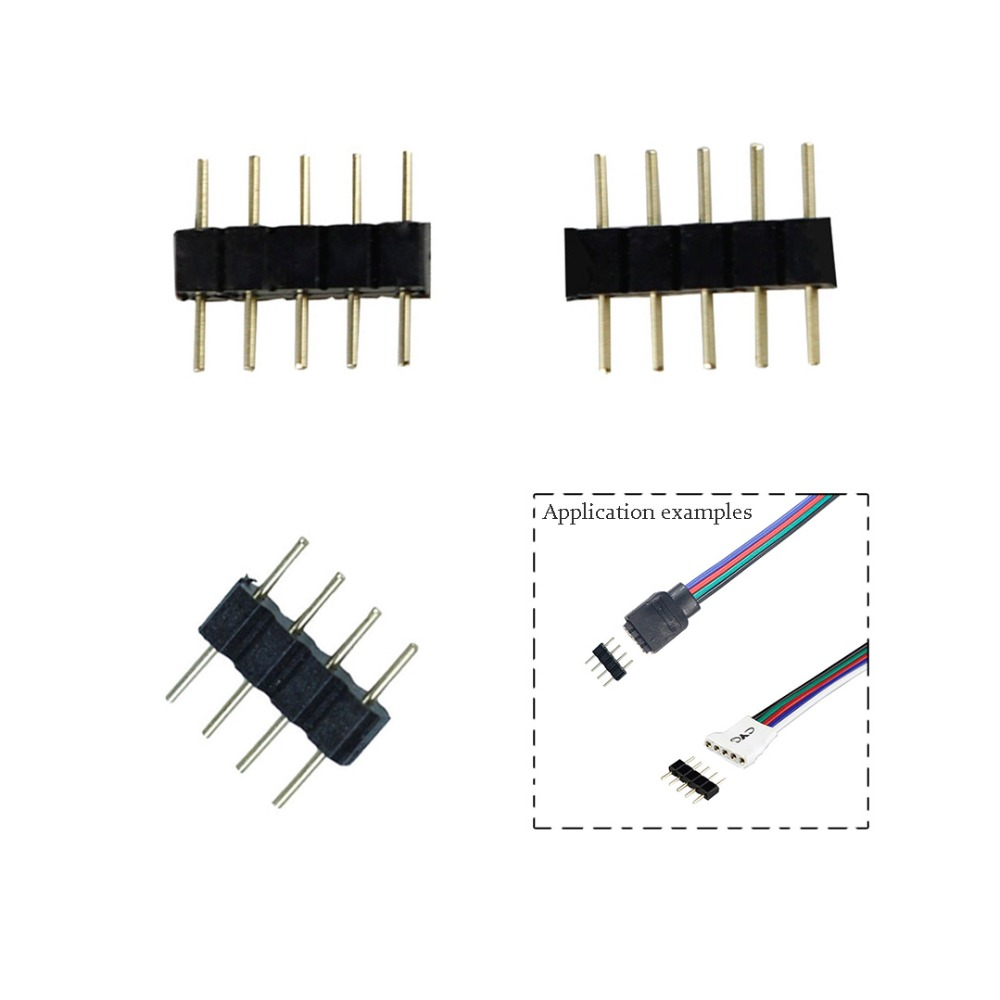 10pcs/lot Connector Adapter Pin Needle Male Type Double 4Pin RGB/5Pin RGBW For 3528 5050 SMD Led Strip Light JQ