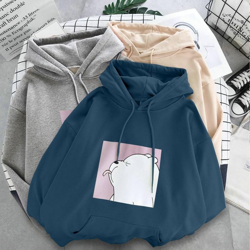 2020 New Winter Warm Plus Velvet Women's Student College Cartoon Hoodies Sweatshirts