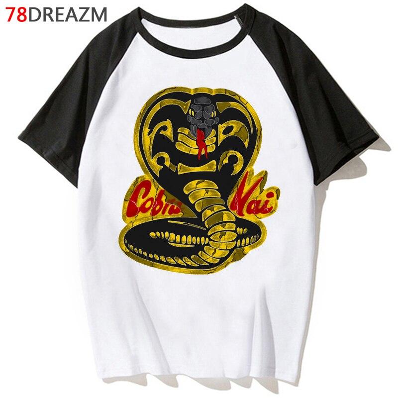 Nova cobra kai t camisa dos homens kawaii verão topos dos desenhos animados camiseta dos homens de karate cobra gráfico camisetas hip hop unissex engraçado tshirt masculino