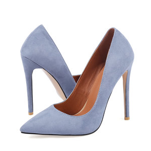 Faux Suede Classic Pumps Women Fashion Thin Heel Pointed Toe High Heels Female 12 cm Party Dress Shoes Blue Beige Black Wine Red