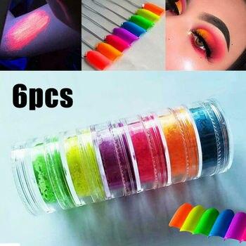 New 6 Colors  Loose Powder Eyeshadow Makeup Set High Pigment Matte Mineral Powder  Lasting Eye Shadow Nail Powder TSLM1 1