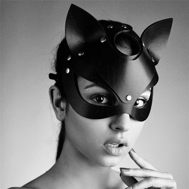 High Quality Half Face Cat Masks For Women Faux Leather Bandage Head Mask Accessories Party Cosplay Punk Black Adjustable Masks 3
