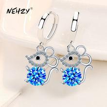 NEHZY-pendientes de plata de ley 925 para mujer, joyería a la moda, aretes de gancho Retro con borlas largas huecas de cristal de circonio y ratón