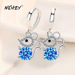 NEHZY 925 Sterling Silver New Woman Fashion Jewelry Earrings Zircon Crystal Mouse Long Tassel Hollow Retro Hook Earrings