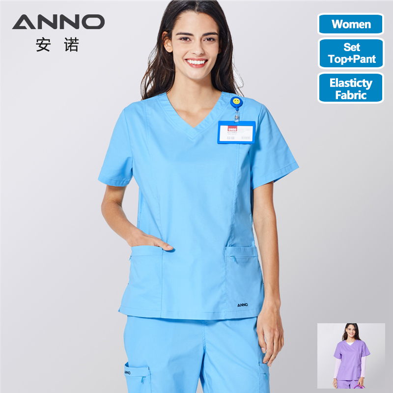 ANNO Medical Scrubs Set Body Nurse Uniform For Women Clinical Clothing Shirt Pant Beauty Salon Wok Wear Nursing Gown 116/120  *
