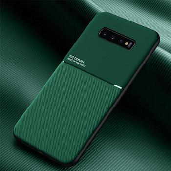 Перейти на Алиэкспресс и купить Роскошный кожаный чехол для Samsung Galaxy S10 S20 Ultra S9 S8 Plus S10E A70 A71 A50 A51 Магнитная Автомобильная Накладка для S10Plus S9Plus