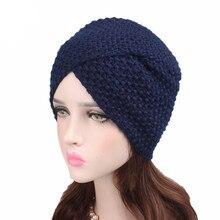 Chapeau croisé dhiver pour femmes musulmanes, chapeau chaud en laine tricoté, bonnet, chimio sommeil, Turban, couvre chef pour Patients atteints de Cancer