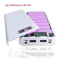 8Pcs Type-C 18650 battery DIY Kit 5.2V 2A 10W power bank cases Dual USB LCD display mobile phone charger LED flashlight цена