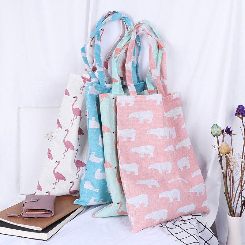 1PCS Animal Print Shopping Tote Beach Handbag Cotton Linen Eco High Capacity Grocery Bags Women Casual Reusable Shopping Bag