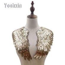 Роскошная золотая Серебряная вышивка крыльев Цветочная кружевная