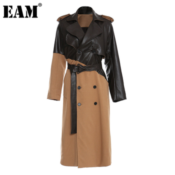 [EAM] Women Khaki Pu Leather Big Size Long Trench New Lapel Long Sleeve Loose Fit Windbreaker Fashion Spring Autumn 2021 1DD0024 1