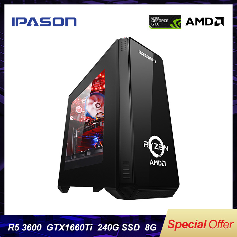 IPASON Desktop PC AMD R5 3600 3th Gen GTX1660TI-6G 240G SSD DDR4 8G FOR Game PUBG Desktop Gaming Computers PC Assembly Machine