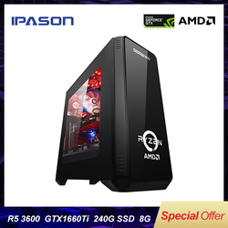 IPASON Desktop PC AMD R5 3600 3th Gen GTX1660TI-6G 240G SSD DDR4 8G VOOR game PUBG desktop gaming computers PC assemblage machine