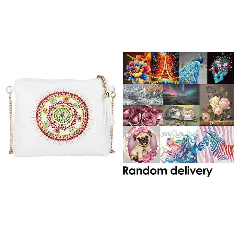 Moda DIY especial en forma de diamante pintura de cuero bandolera bolsos cadena bolso de hombro + 1 pieza pintura de diamantes nueva al azar