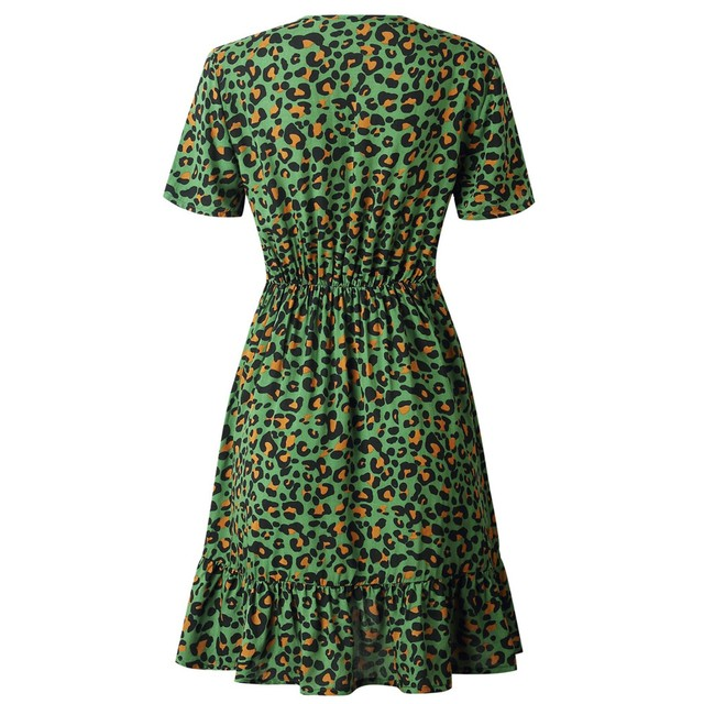 New women's dress fashion sexy V-neck leopard print short sleeve dress different colors available new платье женское 50* 5