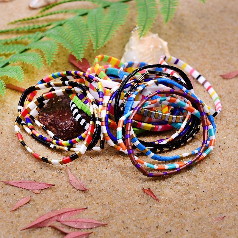 MOON GIRL Tila Beads Miyuki Bracelets for Women Rainbow Handmade Stretchy Charm Wrap Friendship Pulseras Mujer Dropshipping