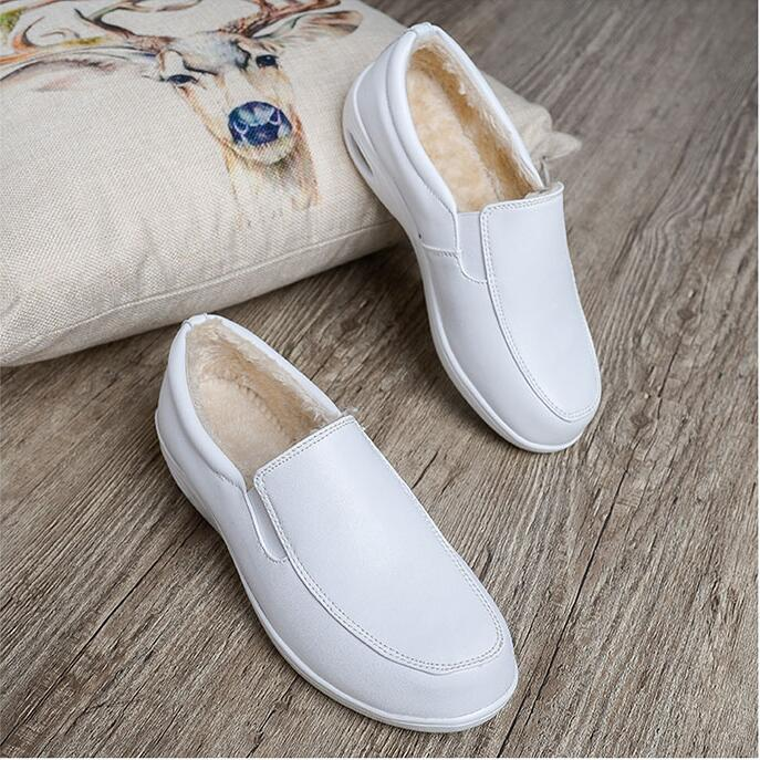 QSR Winter Add Wool Warm Cushion Nurse Shoes White Slope Heel Anti-skid Leisure Shoes Women's Mother White Shoes Work Shoes