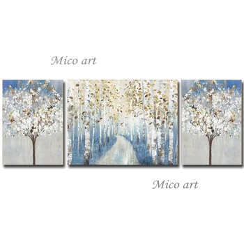 3 Panels 100% Hand-painted Forest Tree Abstract Canvas Oil Painting Wall Art Pictures Artwork Cheap Hot Selling Artwork Craft