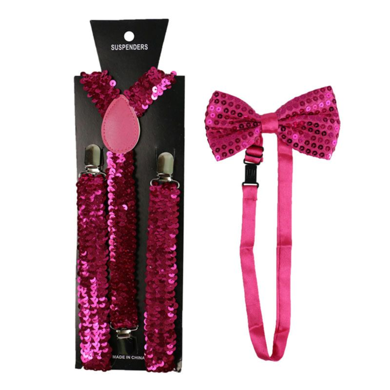 Unisex 2 In 1 Glitter Fish Scales Sequins Solid Suspender Bow Tie Set Outfits