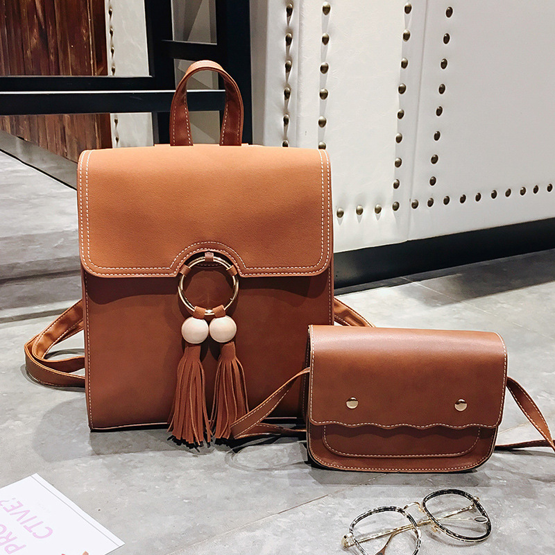 WOMEN'S Bag 2018 New Style Korean-style Simple Women's Casual Backpack Large Double Wooden Ball Tassels Backpack College Style S