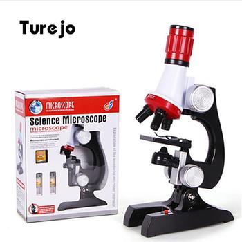 100X-400X-1200X zestaw mikroskopu Lab LED Home School nauka zabawka edukacyjna prezent rafinowany mikroskop biologiczny dla dzieci dzieci tanie i dobre opinie turejo CN (pochodzenie) 500X-1500X Microscope Kit For Kids Z tworzywa sztucznego PORTABLE Wysokiej Rozdzielczości Monokularowy