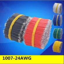 Cabo de solda pcb placa de ensaio de estanho, 100 pçs/lote, 24awg 3/4/5/6/8/10cm fly jumper wire 1007-24awg conector de fio