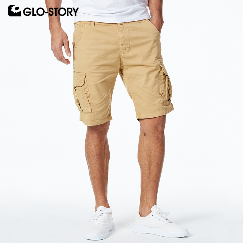 GLO-STORY 2020 European High Quality Men's Bermuda Masculina Casual Streetwear Summer Cotton Cargo Shorts MMK-6236