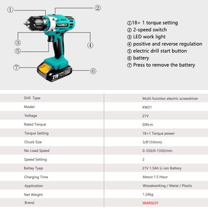 Image 3 - 21V Multifunction Cordless Electric Drill Rechargeable Screwdriver Lithium Battery Mini Drill 2 Speed Power Tools