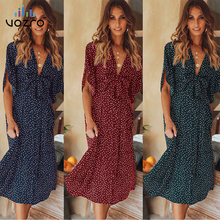 VOZRO 2019 Season Chalaza Bow In Longuette Wavelet Point Printing Short Sleeve Small Fresh Sexy Maxi Dress Women Vestido Dresses
